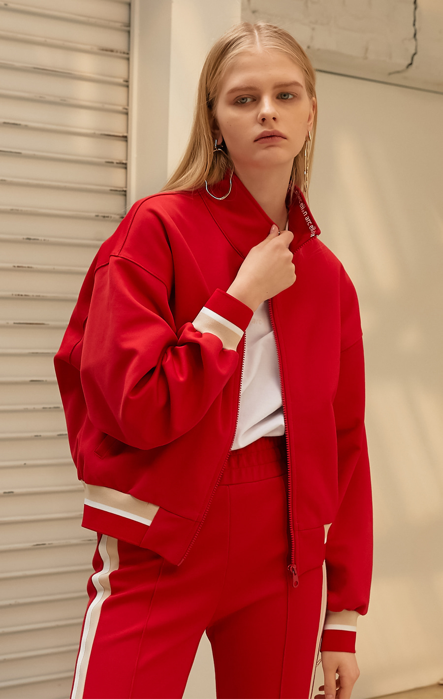 COLOR BANDING TRANING ZIP UP_RED