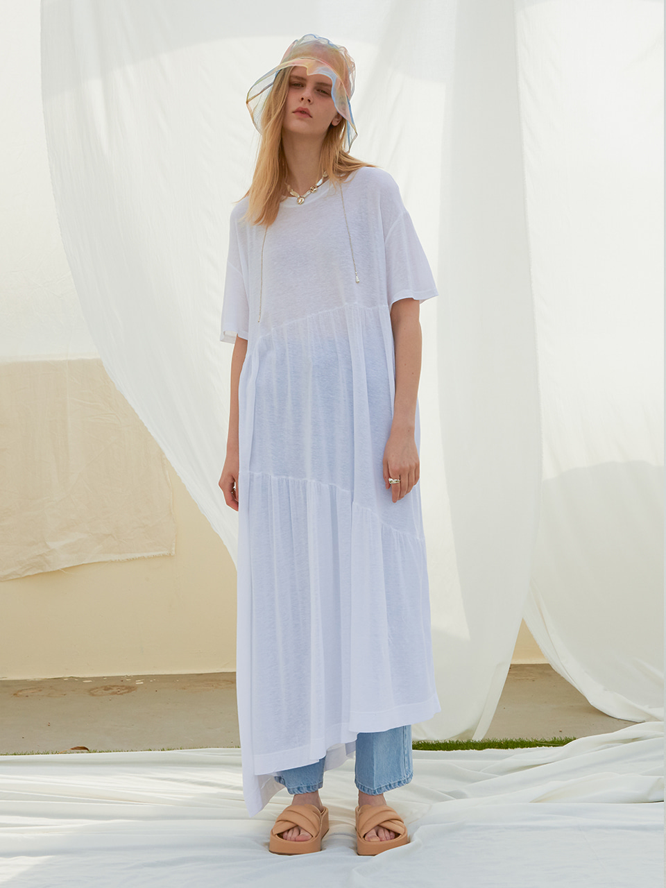 UNBALANCE LINEN LONG OPS_WHITE