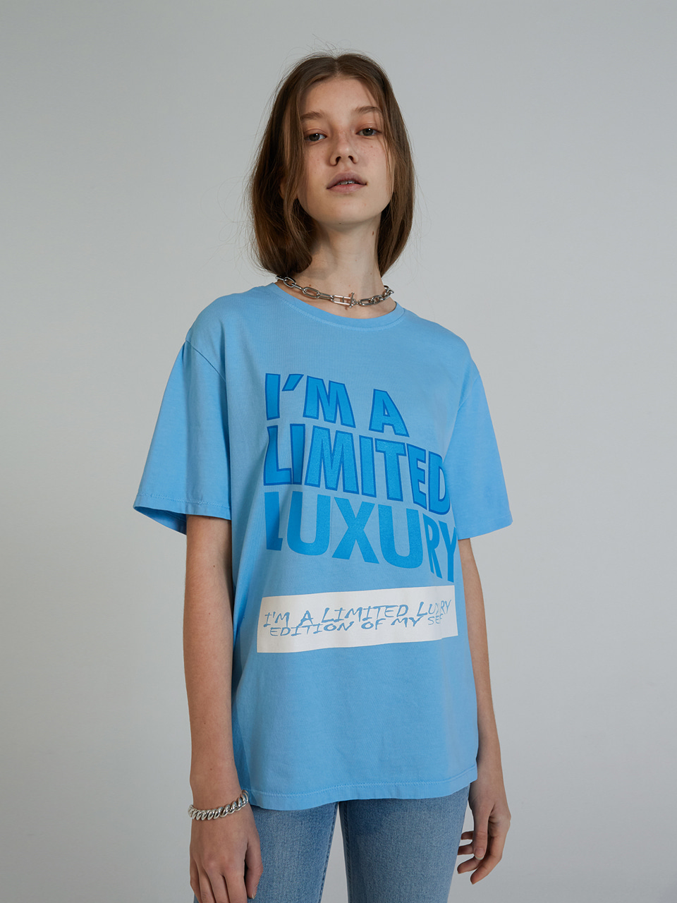 COLOR PRINT HALF T-SHIRTS_BLUE