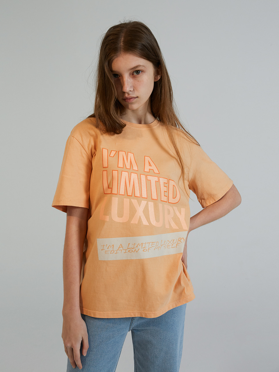 COLOR PRINT HALF T-SHIRTS_ORANGE