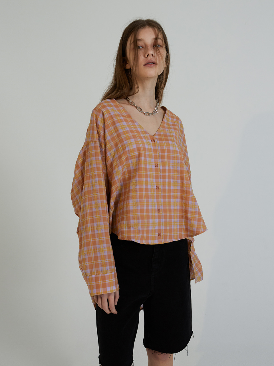 V-NECK CHECK NB_ORANGE