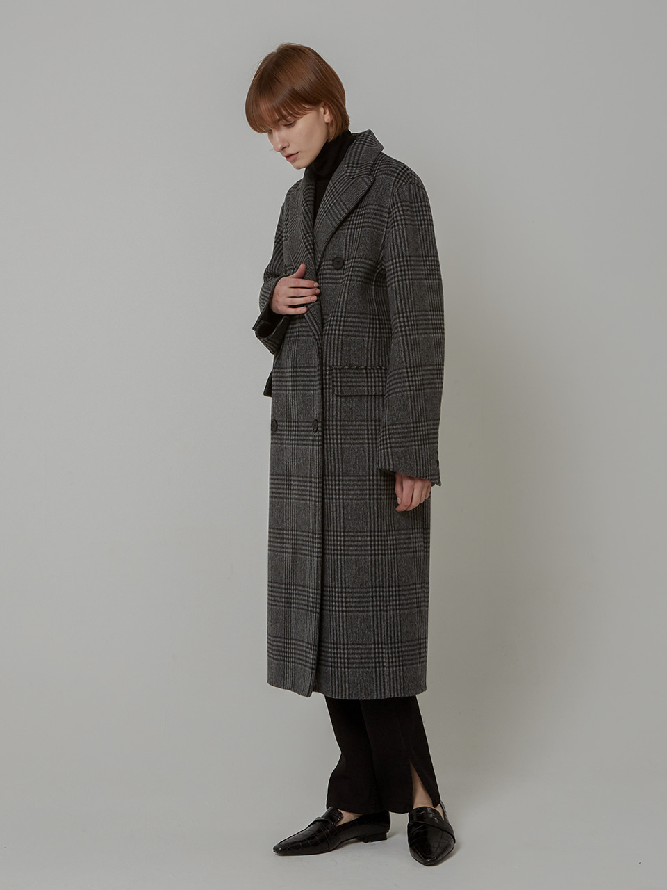WOOL CHECK DOUBLE HANDMADE CT_BLACK CHAECK