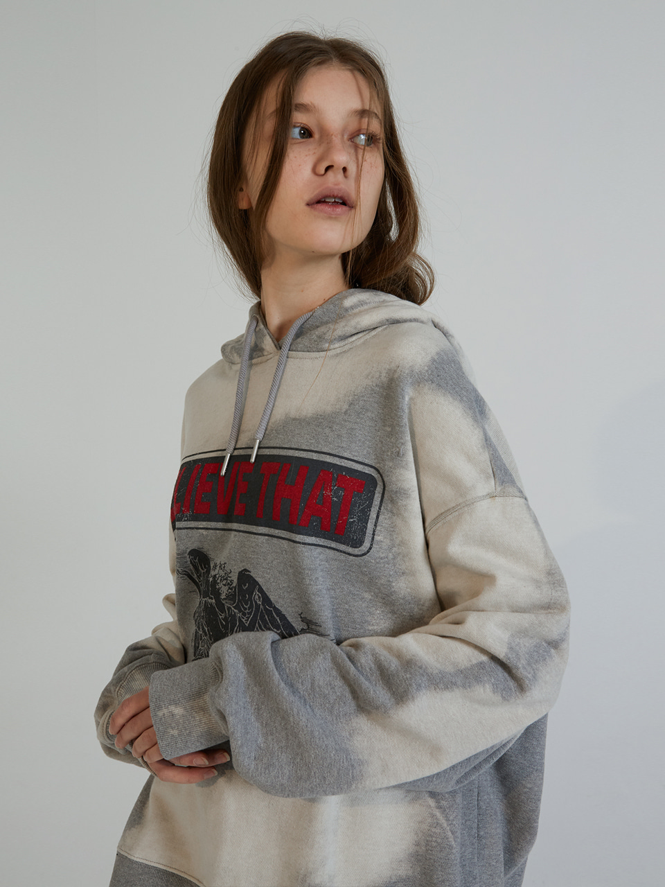 BELIEVE HOOD SWEATSHIRTS_GREY